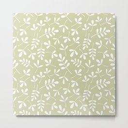 Assorted Leaf Silhouettes White on Lime Ptn Metal Print