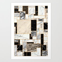 Random Pattern - Black and White Marble Art Print