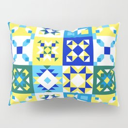 Moroccan tiles pattern with blue and yellow no4 Pillow Sham