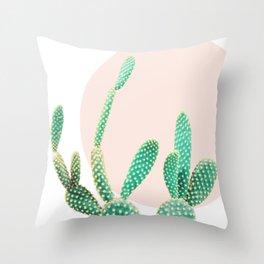 Cacti, Cactus decor, Pastel, Plant, Pink, Minimal, Interior, Wall art Throw Pillow