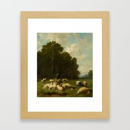 JACQUE, CHARLES EMILE Paris 1813 - 1894 Flock at the Edge of a Forest. Framed Art Print