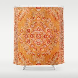 Orange Boho Oriental Vintage Traditional Moroccan Carpet style Design Shower Curtain