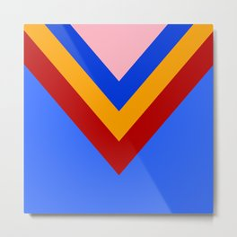 Cheer Arrows Red Yellow Blue Chevrons  Metal Print