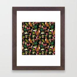 Boxer tiki tropical dog pattern modern pet friendly pet pattern dog breeds Framed Art Print