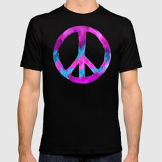 Purple Blue Watercolor Peace Sign Mens Fitted Tee Black MEDIUM