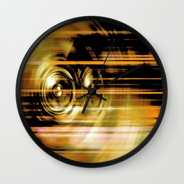 Gold music speakers Wall Clock