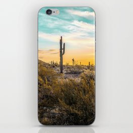 Desert Sunrise // Saguaro Cactus Summer Sun Arizona Nature Landscape Teal Blue Green Sky iPhone Skin