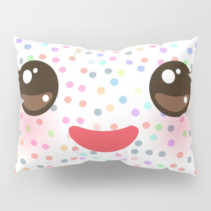 Kawaii funny muzzle with pink cheeks and eyes on white polka dot background Pillow Sham