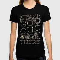Go Out There Black MEDIUM Womens Fitted Tee