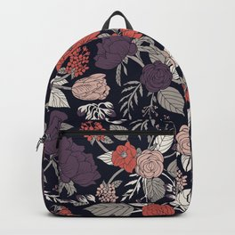 Purple, Gray, Navy Blue & Coral Floral/Botanical Pattern Backpack