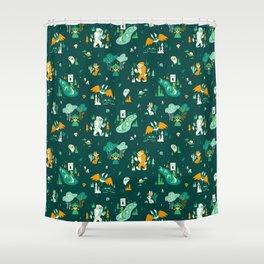 Cryptid Cuties (Bigfoot, Yeti, Jackalope, Mothman, Ghost, Loch Ness Monster) Shower Curtain