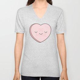 Pink Sweet Candy Heart Unisex V-Neck