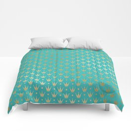 Aqua and Faux Gold Crowns Patten Comforters