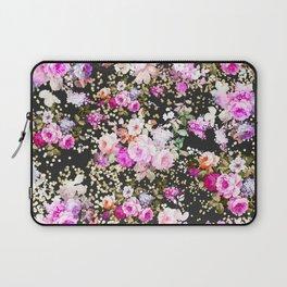 Elegant vintage bright pink floral faux gold confetti Laptop Sleeve