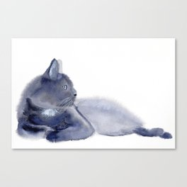 """""""The queen has arrived"""" Expressive Cat Watercolor Painting Canvas Print"""