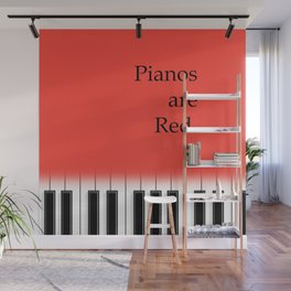 Pianos are red - piano keyboard for music lover Wall Mural
