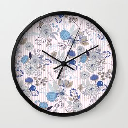 Abstract rustic navy blue gray floral pink stripes pattern Wall Clock