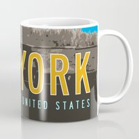 travel poster Mugs featuring New York Travel Poster by Michael Jon Watt