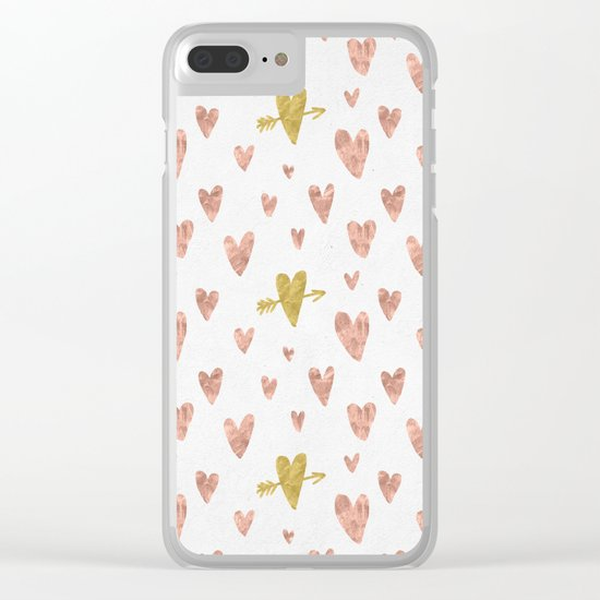 Yellow Rose Gold Hearts Pattern Clear iPhone Case