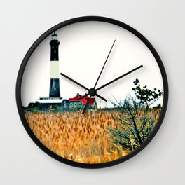 Fire Island Lighthouse HDR Photography Wall Clock