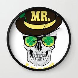 Mr Lucky Grinning Skull Sunglasses St Patricks Day print Wall Clock