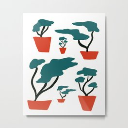 Bonsai Trees in Red Vases Metal Print