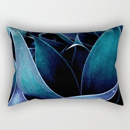 Turquoise Teal Blue Abstract Leaves Rectangular Pillow