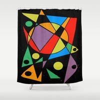 kandinsky Shower Curtains featuring Abstract #130 by Ron Trickett