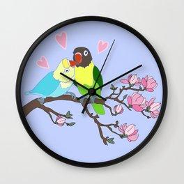 Kissing Lovebirds in magnolia tree Wall Clock