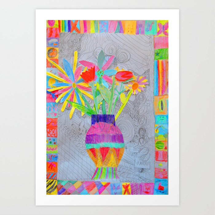 Society6 & Flower Vase | Kids Painting | 3D Collage Art Print by azima