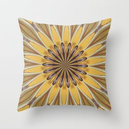 Yellow and Ochre Flower Pattern Abstract Throw Pillow