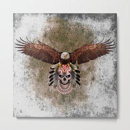 indian native Flaying Eagle sugar Skull iPhone 4 4s 5 5c 6, ipod, ipad, pillow case Metal Print