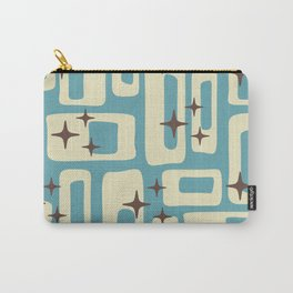 Retro Mid Century Modern Abstract Pattern 576 Blue Brown Carry-All Pouch