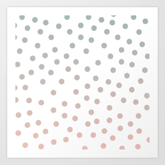Simply Dots in Coral Peach Sea Green Gradient on White Art Print