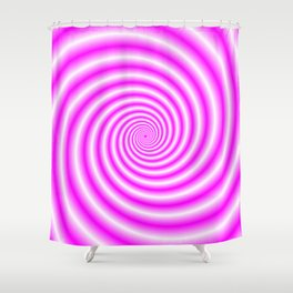 Pink and White Candy Swirl Shower Curtain