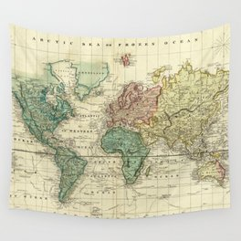 Vintage Map of The World (1823) Wall Tapestry