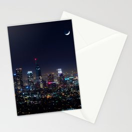 Decembers Blue Moon over the LA skyline Stationery Cards