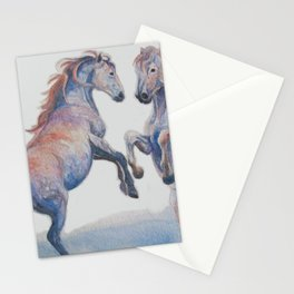 Fighting Stallions Wild Horse Stationery Cards