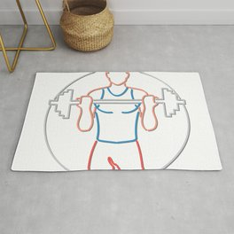 Athlete Lifting Barbell Neon Sign Rug