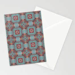 Aqua Turquoise Coral Red Brown Mosaic Pattern Stationery Cards
