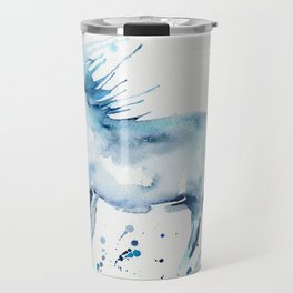 Watercolor Horse Galloping with Paint Splatter Travel Mug
