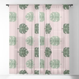 Tropical leaves Monstera deliciosa green and pink #monstera #tropical #leaves #floral #homedecor Sheer Curtain