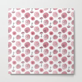 Pink Carnation Pattern Metal Print