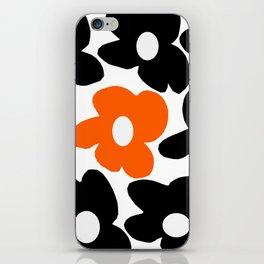 Large Orange and Black Retro Flowers White Background #decor #society6 #buyart iPhone Skin