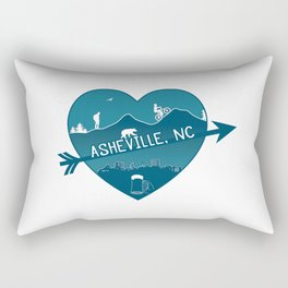 Asheville, NC - AVL 8 Blue on White Rectangular Pillow