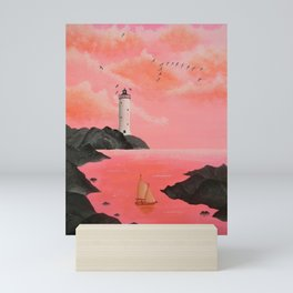 Lighthouse in Peach Mini Art Print
