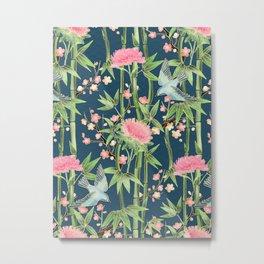 Bamboo, Birds and Blossom - dark teal Metal Print