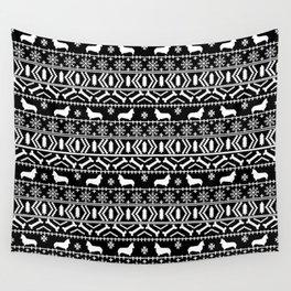 Corgi fair isle silhouette christmas sweater dog gifts corgis welsh corgi dog Wall Tapestry