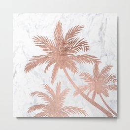 Tropical simple rose gold palm trees white marble Metal Print