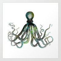 octopus Art Prints featuring Octopus by LebensART